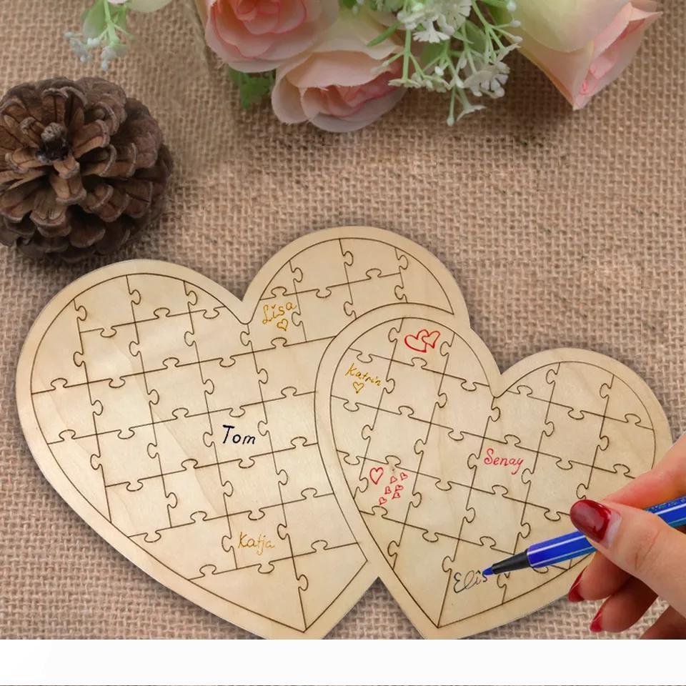 Un casse-tête en forme de coeur Invité de mariage Coutumier personnalisé mariage en bois Guestbooks signe de cru Livres