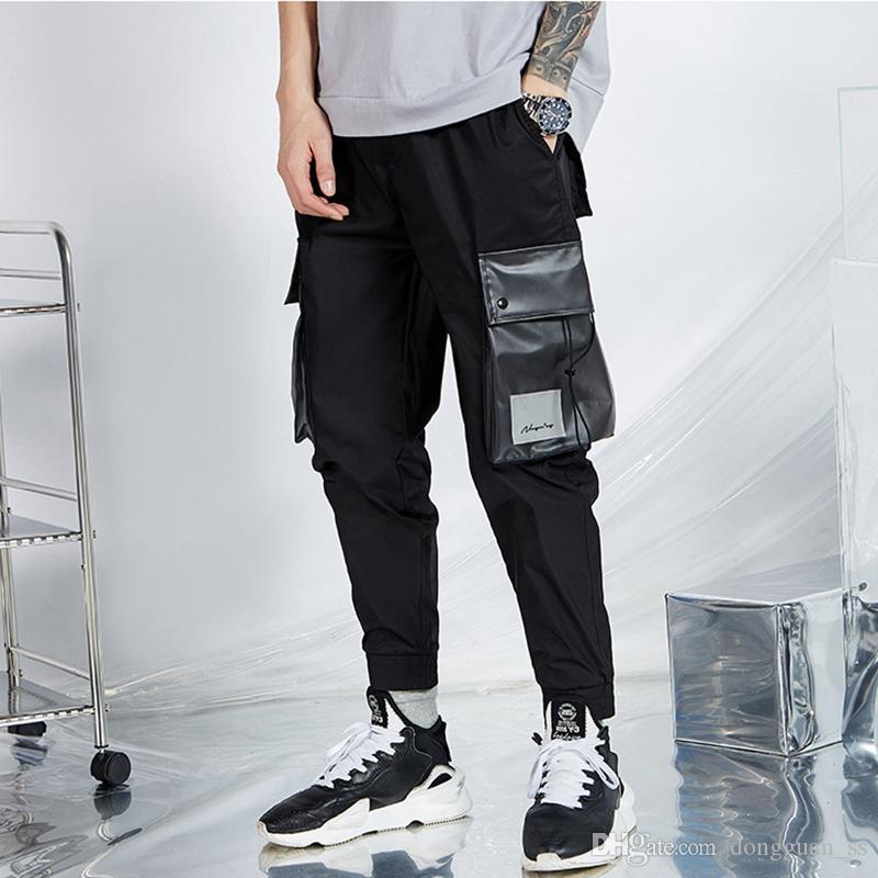 2020 Homens Carga Joggers Calças Calças Sweatpants Men Casual Moda soltas Estilo Tamanho Grande Primavera Hip Hop Calças