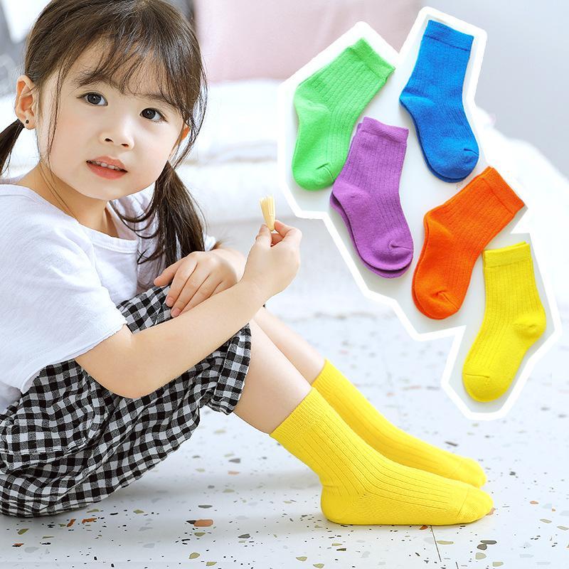 Носки 2021 Весна Детские Хлопковые Конфеты Цвета Мода Мальчики Девушки 1-12 Год Дети 10 Пар / Лот