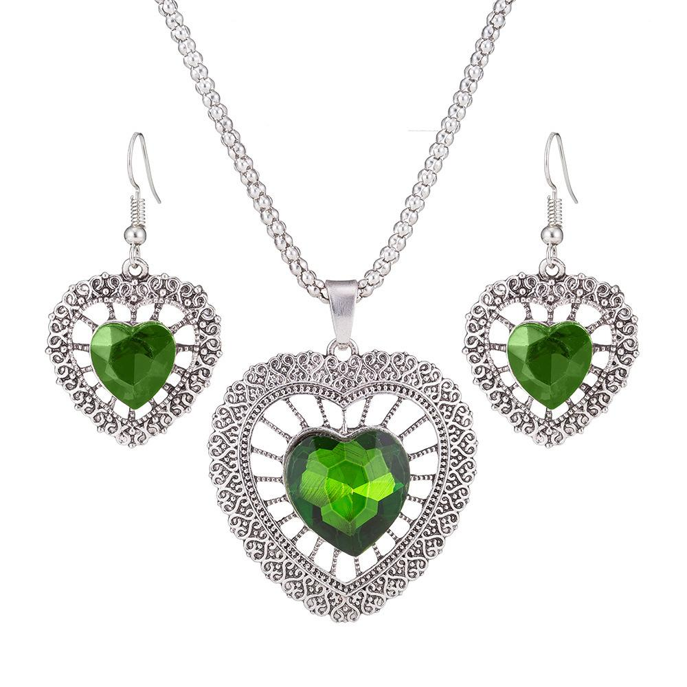 European and American fashion heart crystal wedding bridal jewelry set female junk silver pendant necklace necklace love gift