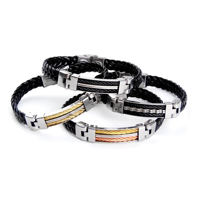 Monili maschili oro / oro rosa in acciaio inox bottone wrap polsino fibbia in pelle treccia braccialetti braccialetti braccialetti fatti a mano