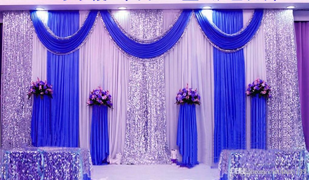 3 * 6 m (10 pi * 20ft) Mariage rideau Backdrops avec dense Paillettes Swag de haute qualité Ice Silk Matériel de soirée de mariage étape cantonnière Décoration
