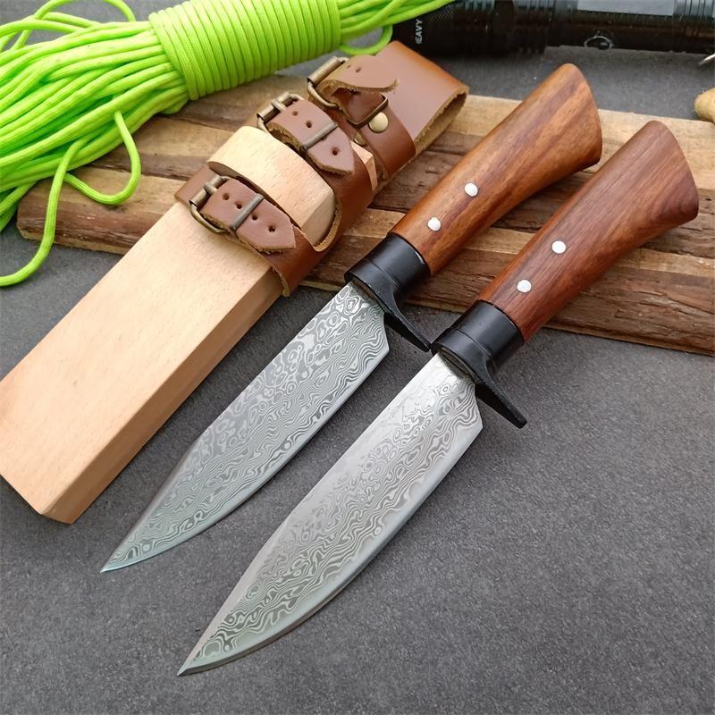 Padrão New Outdoor Fxied lâmina de caça faca de aço lâmina de madeira punho reto Facas com madeira Bainha