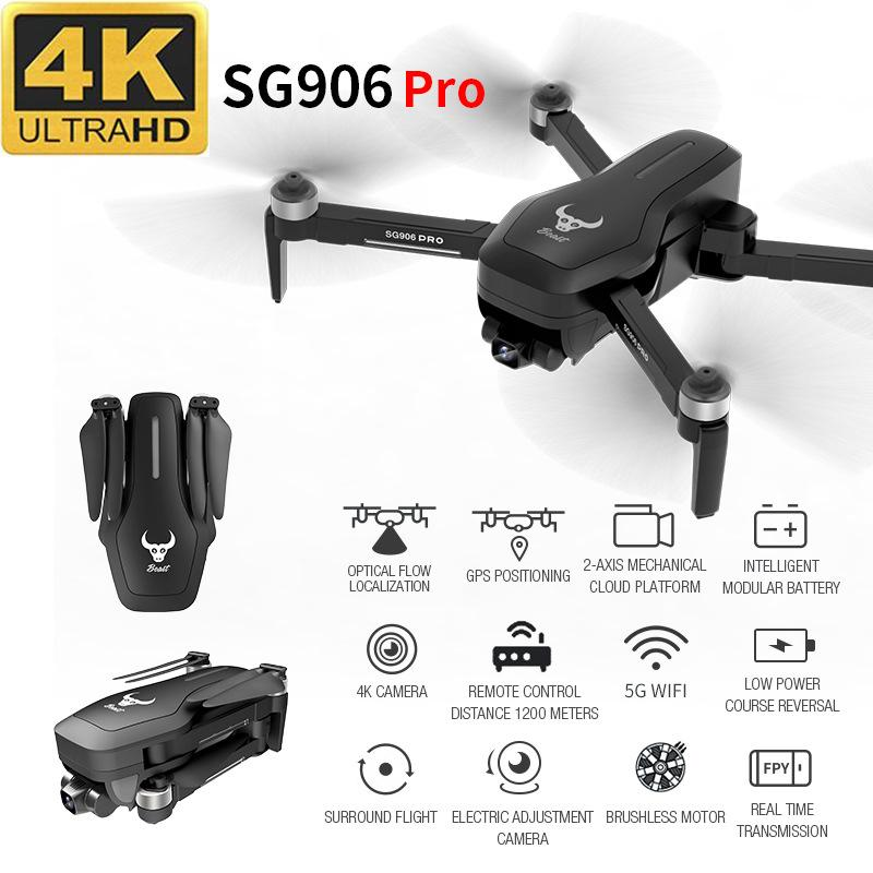 SG906 Pro Aerial Professional RC بدون طيار 4k Wide Angle HD Fold Quadrotor High Hold Gps Wifi 1 Click Return Helicopter T200420