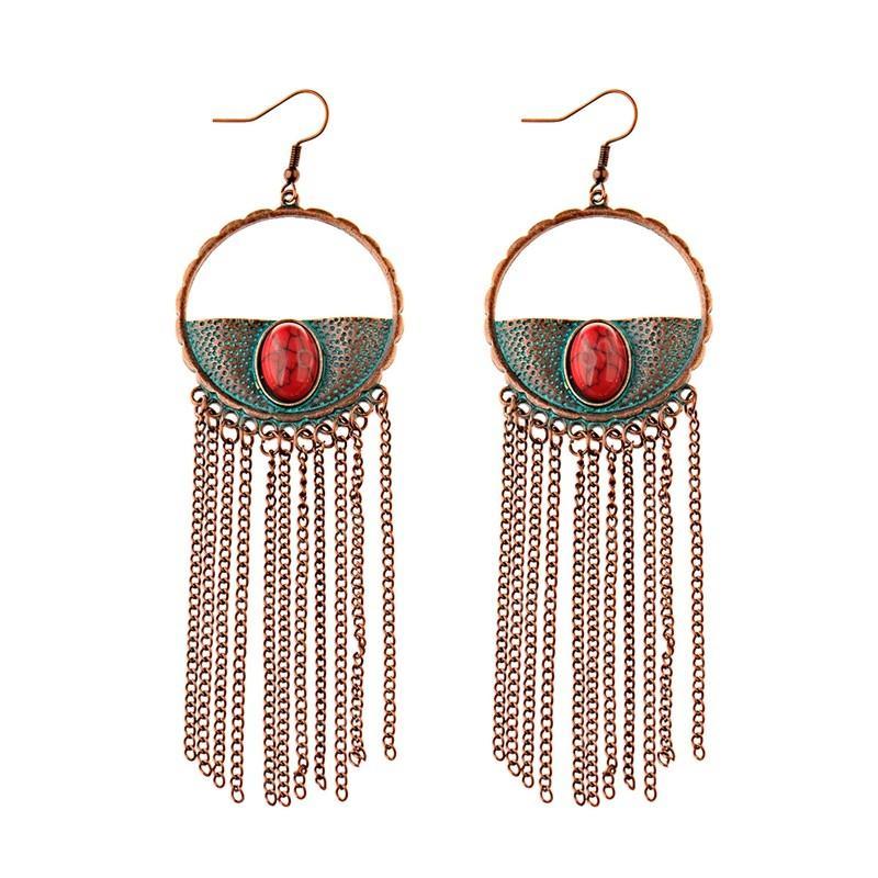 سلسلة جولة سبائك طويل الشرابة أقراط إسقاط قبيلة الأحمر ستون الخرز أزياء بيان مجوهرات أقراط استرخى للنساء الهندي