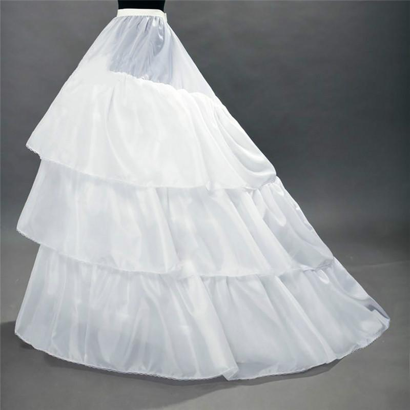 عالية الجودة الأبيض ثوب نسائي قطار الكرينولين السيولي 3- طبقات 2 الأطواق لفساتين الزفاف أثواب الزفاف