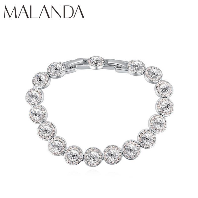 Malanda Brand New Fashion Round Crystals From Swarovski Bracelets Silver Color Zircon Bracelets Bangle For Women Wedding Jewelry