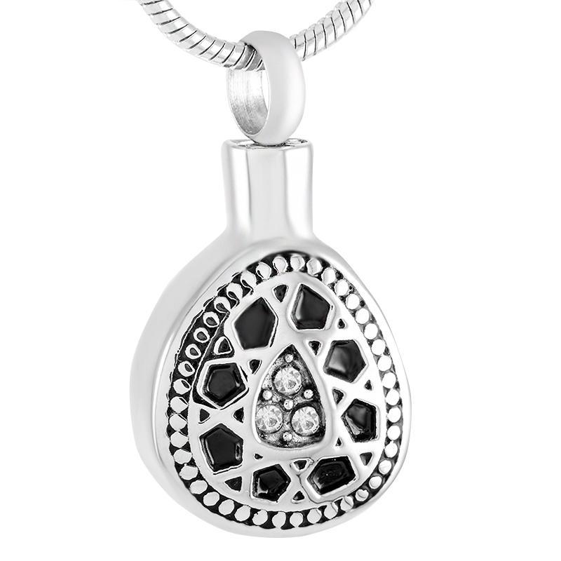 Nouveau Z3334 Black ovale en acier inoxydable commémorative cendres de cendres bijoux de sculpture libre crémation crémation cendré cendres collier
