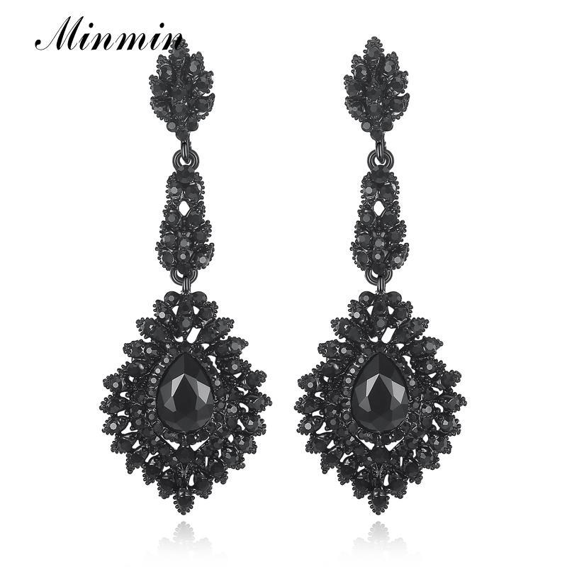 ewelry Accessori Minmin epoca lungo nero lampadario orecchini di goccia per le donne degli orecchini a goccia da sposa Cristallo monili d ...