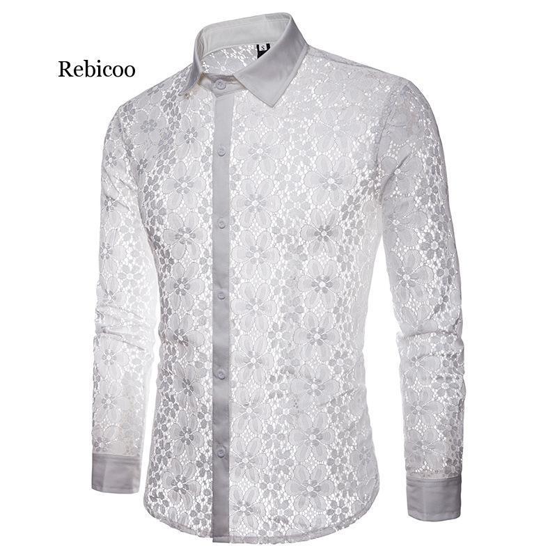 Роскошные Цветочные Кружева Рубашка Мужчины Марка Вышивка Новый Прозрачный Сексуальное Платье Рубашка Мужская См Через Черный Вечеринки Клуб Рубашка Мужчина