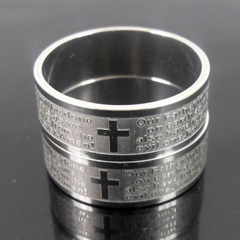 25pcs Gravé Argent Hommes Anglais Seigneur acier inoxydable Croix anneaux de prière cadeaux Anneaux religieux hommes de beaucoup de bijoux en gros LIVRAISON GRATUITE