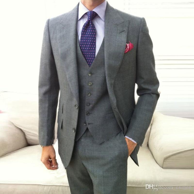 Men Suits Grey Groom Tuxedos Slim Wedding Suits Big Peaked Lapel Groomsmen Suits Bridegroom Wear Best Man Blazers 3 Piece Jacket Pants Vest