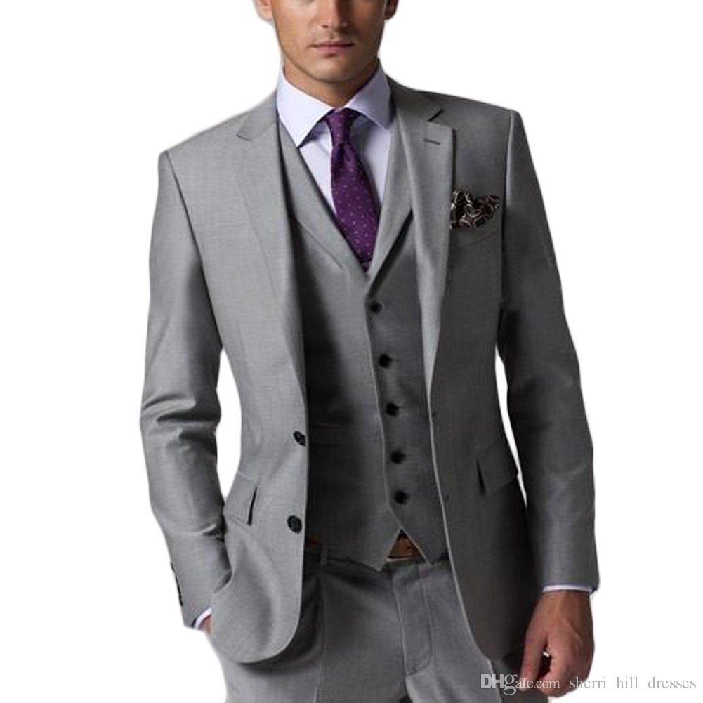 Ternos Custom Made Slim Fit Noivo Smoking Groomsmen Light Grey Side Ventilação casamento Best Man Suit masculinos (jaqueta + calça + Vest + TIE)