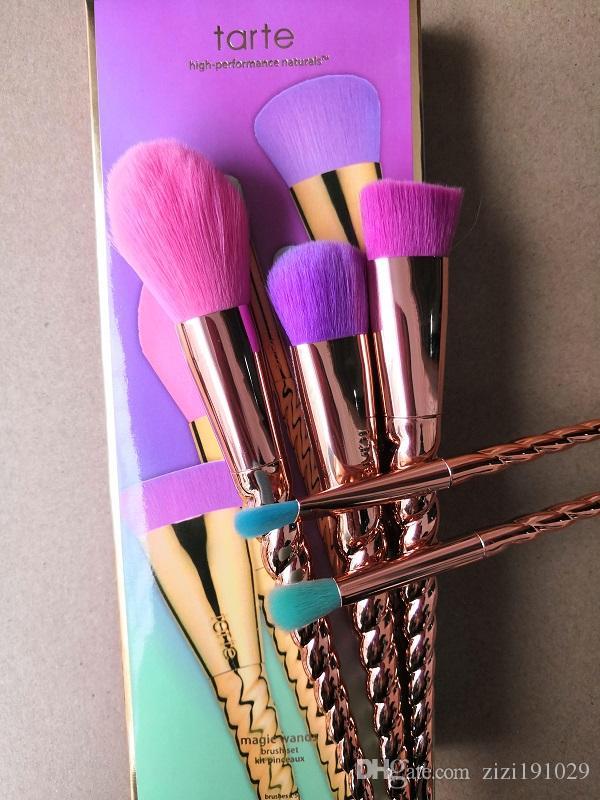메이크업 브러쉬 세트 화장품 브러시 5 밝은 색상 장미 골드 나선형 샹크 메이크업 브러쉬 유니콘 스크류 메이크업 도구