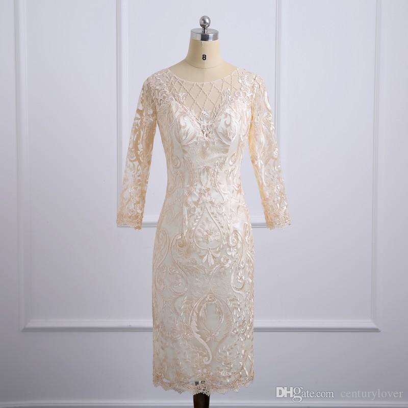 Yeni Kısa Gerçek Görüntü Şampanya Anne Gelin Elbiseler Dantel Aplikler Boncuk Uzun Kollu Düğün Konuk Elbise Örgün Abiye giyim