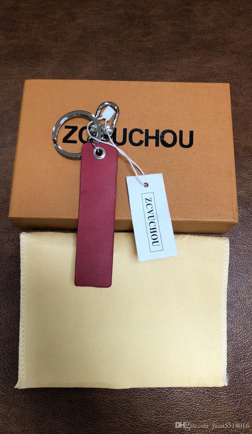 2019 Nuevo llavero de negocios Llavero de aleación de zinc de cuero rojo Llavero de coche Hebilla de herradura Regalos de lujo personalizados con bolsa de polvo de caja