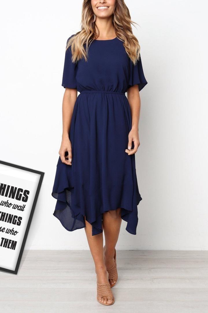 Casual Feminino Vestuário Outono Womens Designer Casual vestido cor sólida do pescoço de grupo Mid cintura Irregular Um vestido de linha
