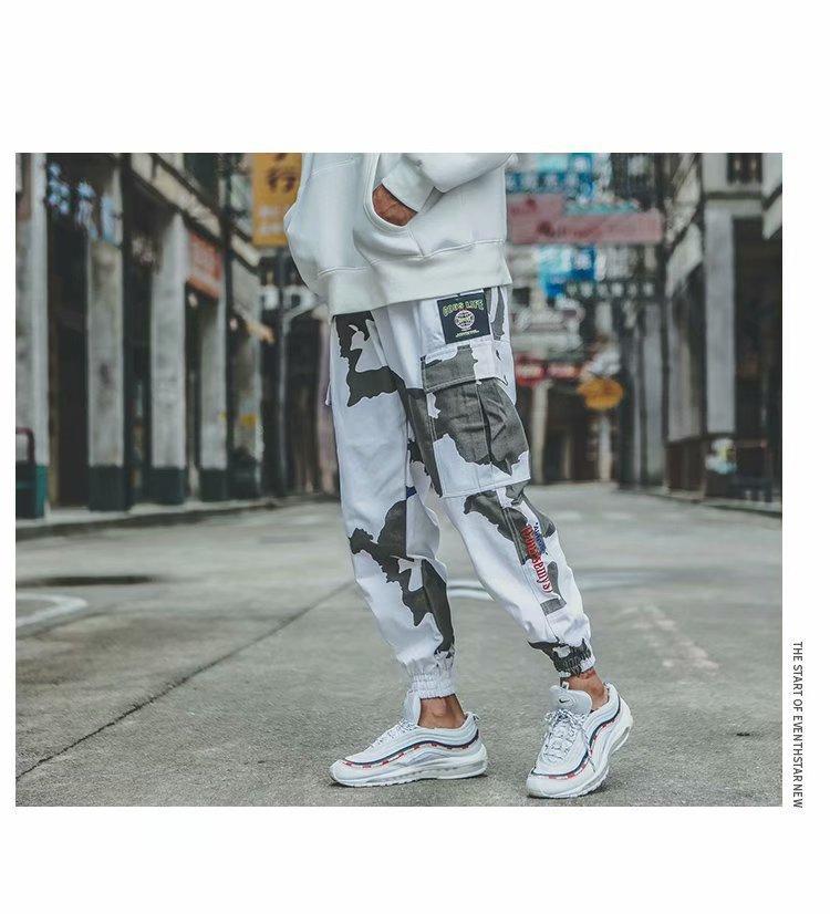 Calças de carga Casual Homens Spring Camouflage Designer calças compridas Hiphop Rua Calças