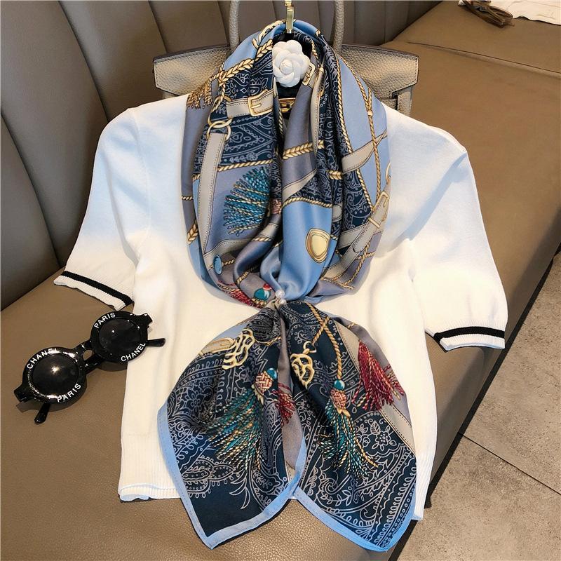 La primavera y el verano nueva moda de todo - alrededor de pañuelos de seda de imitación de seda pura impresión chal chal de impresión de pequeño cuadrado