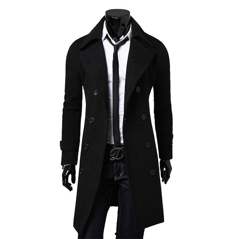 Chaqueta NUEVA marca de moda de otoño largo Trench Coat gabardina rompevientos CJ191128 hombres de calidad superior delgado Negro Hombre Abrigo para hombre de color caqui