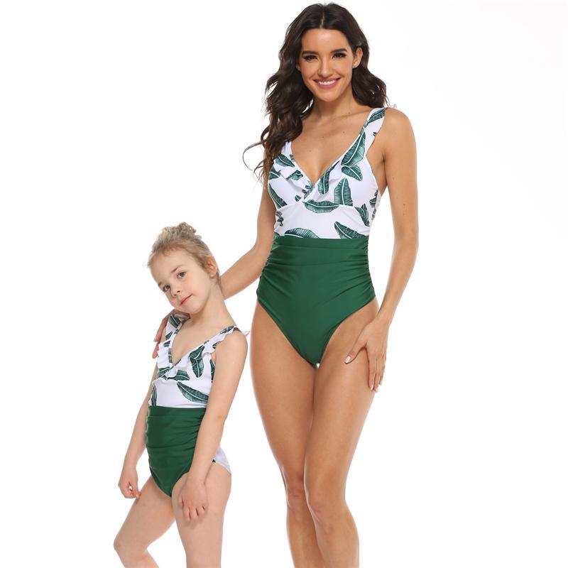 Mother-Daughter Matching Swimsuit Womens Girls Frill Leopard One Piece Monokini