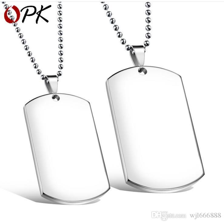 Rechteckige Militärmarke Titan Stahl Halskette hängende quadratische Marke glatte Student Halskette