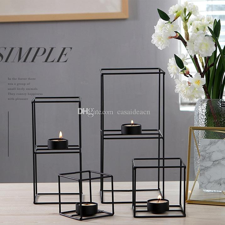 Wire Cube Candle Holder Cubic Metal Tealight Holder Black Wrought Iron Votive Candle Holder Geometric Creative Table Decoration