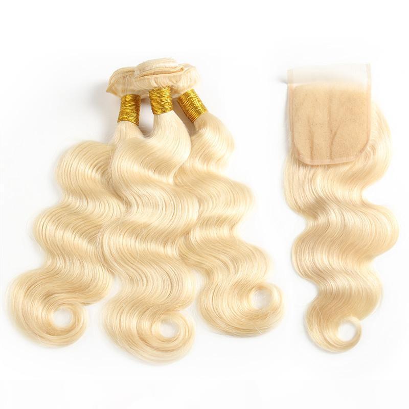 Brezilyalı Bakire Sarışın saç örgüleri ile Dantel Kapatma İnsan Saç Paketler Vücut Dalga Düz atkıların Brezilyalı İnsan Saç Uzantıları