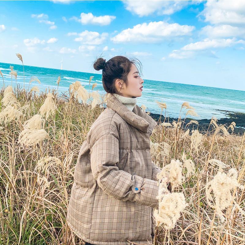 والتقطت الصور من معطف القطن المرأة الموسم على غرار الكورية فضفاض احتواء منقوشة المحشوة بالقطن سترة 2019 نمط جديد أسفل الريشة Cotton-
