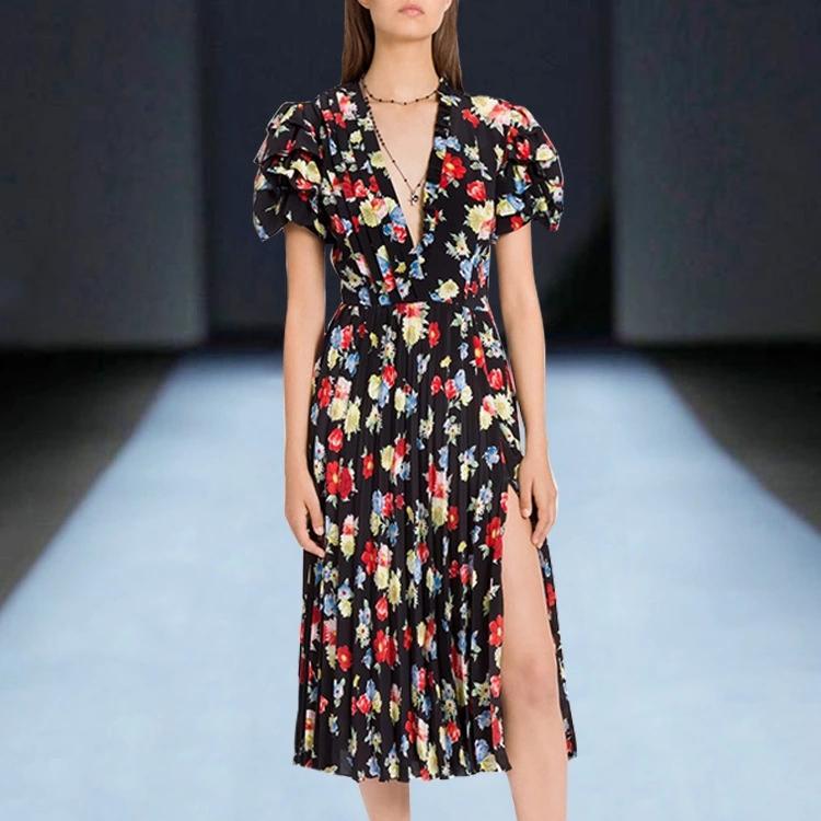 2020 летняя французского ретро темперамент высокого качества V-образный вырез цветочного раскол талия платье
