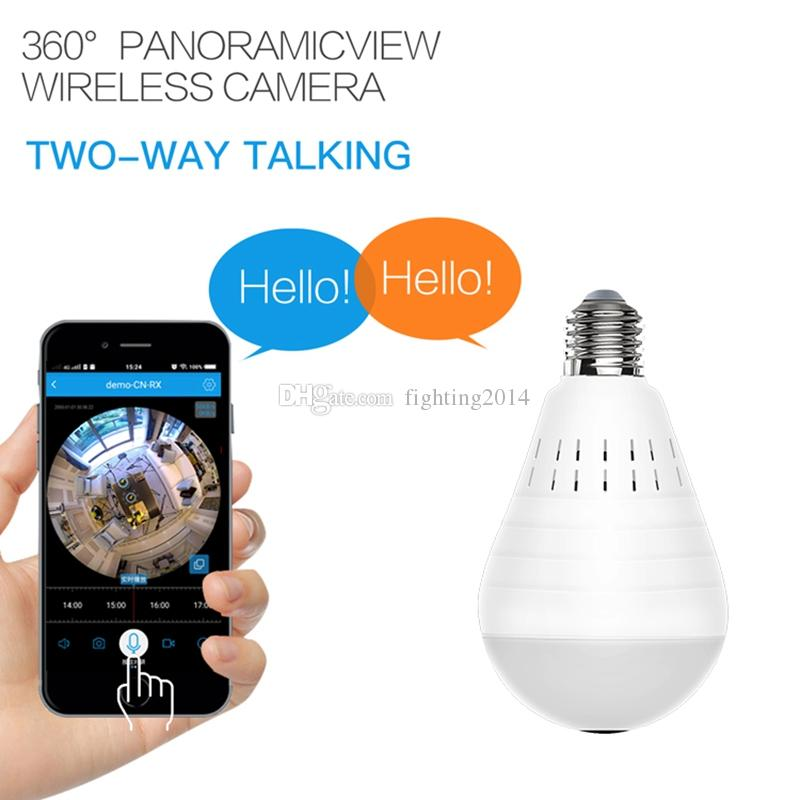 360 Degree Panoramic bulb wifi Camera HD 960P Bulb Lamp Video camera wireless network home security CCTV camera Two Way Audio