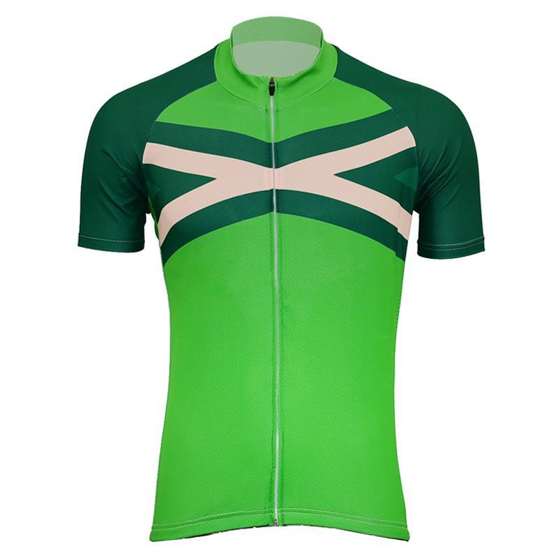 2019 NEUE Männer grüner Trikots Quick Dry Radfahren Jersey Kurzarm Radsportbekleidung Straßen-Fahrrad-Kleidung tragen