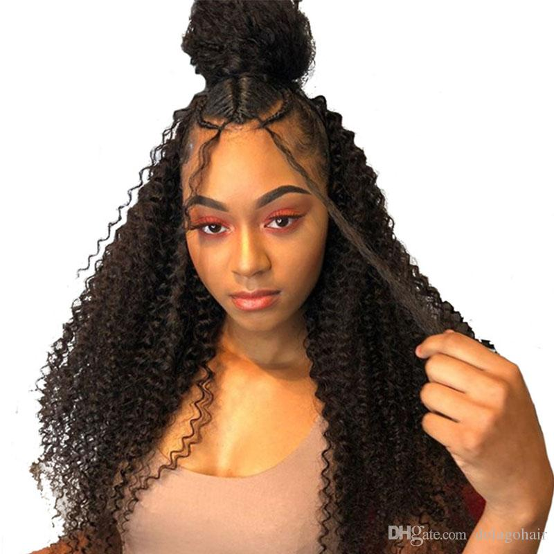 Kinky Curly Human Hair Wig 130 Density Lace Front Human Hair Wigs For Women Black 13X4 Malaysian Lace Wig Pre Plucked