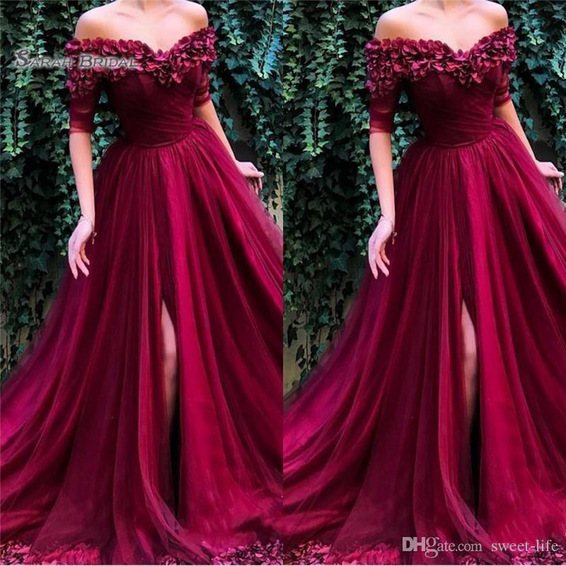 2019 Off Shoulder Front Split Tulle Prom Dresses Short Sleeves High End Quality Evening Party Dress Hot Sales