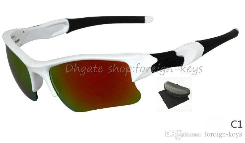 새로운 스타일 남성 자전거 타기 스포츠 선글라스 야외 태양 안경 브랜드 멋진 얼굴 선글라스를 찍어 케이스가있는 컬러 안경을 현혹시킵니다.