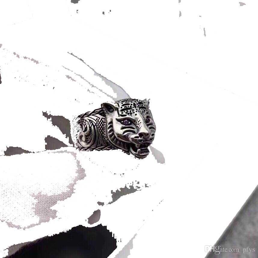 925 sterling silver fashion amethyst sword tooth tiger head Thai silver ring men's domineering personality retro ring feline head ring