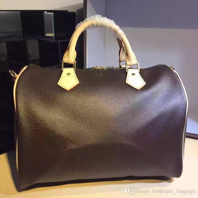 quailty Free Shipping! 25 30 35cm With Strap Women Boston tote bags Famous Genuine Leather Handbags Designer Shoulder Bag 40390 Brand bag