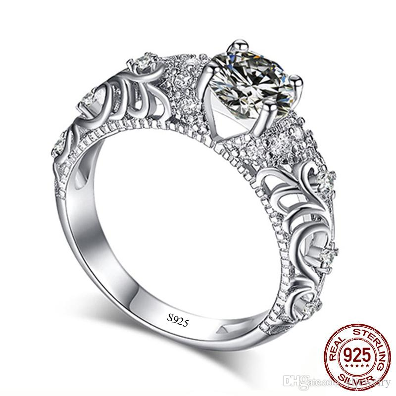 Classical Baroque Style 1ct 6mm Round CZ Diamond Ring Genuine 925 Solid Silver Wedding Ring Jewelry For Woman Gift XR041