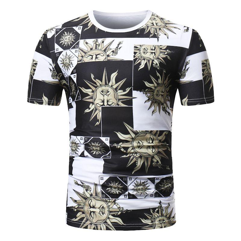moda estiva manica corta sole fiore stampa casual t shirt o-collo slim uomo t-shirt top moda mens tee shirt magliette