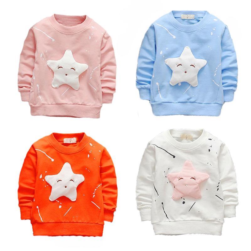 Baby-T-Shirt Frühling und Herbstmädchenkarikatur langärmeliges Rundhalsausschnittbaumwollkarikaturhemd Kindermode-Trendhemd