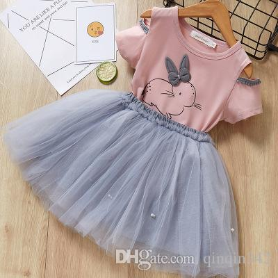 Mädchen Kleidung stellt neue Sommer-Mode-Art-Karikatur-Kaninchen Bedruckte T-Shirts + Rosa Kleid 2Pcs Mädchen-Kleidung Sets