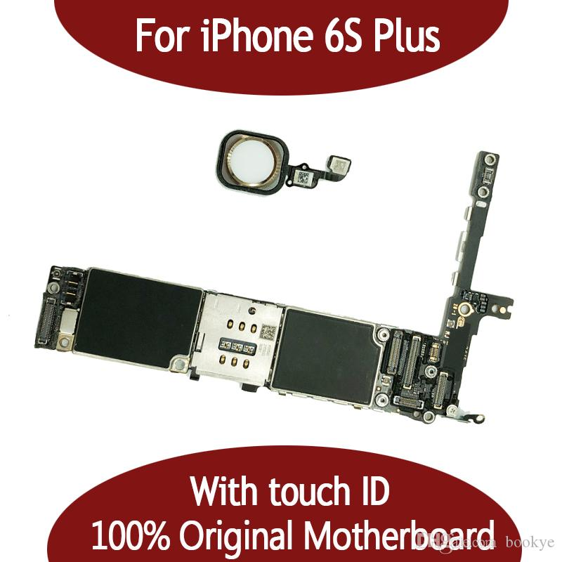 For iphone 6S Plus 16G 64G Motherboard with Touch ID & Fingerprint Original Unlocked for iphonbe 6S Plus Logic board by Free Shipping