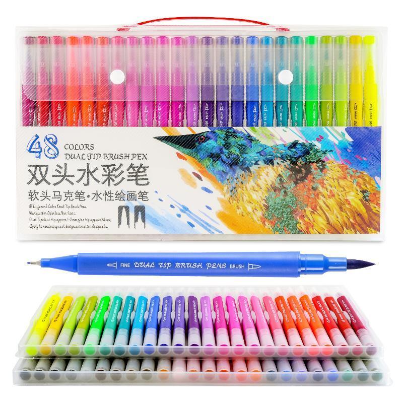 Dainayw 100 couleurs Double Brosse Marqueurs Stylo Pointe Fine dessin peinture encres D'eau stylos pour coloration Manga Calligraphie Graffiti