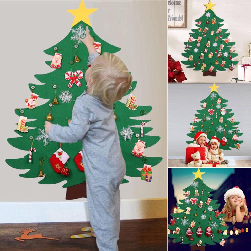 Feltro da regalo Albero di Natale ornamenti Capodanno fai da te giocattoli per bambini Wall Hanging Decor