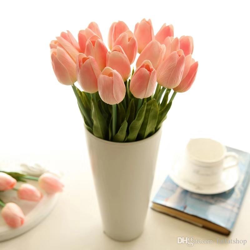 인공 식물 미니 과일 실크 튤립 꽃 시뮬레이션 꽃 녹색 잎 홈 웨딩 꽃다발 Xams 및 선물 가을 홈 DECORA 꽃병