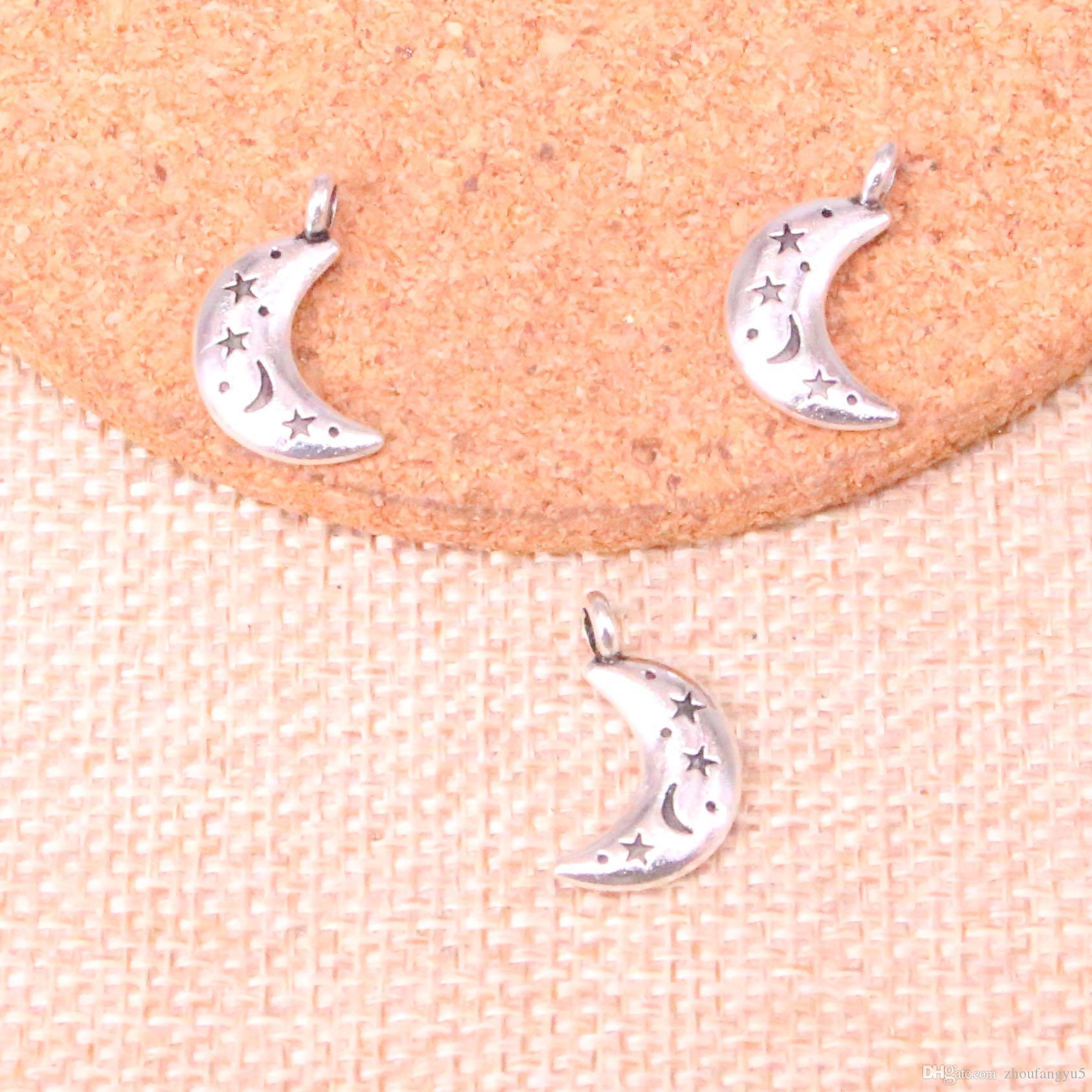 80pcs fascini moon star 20 * 13mm antiquariato del pendente adatti che fanno, d'argento tibetani, gioielli artigianali fai da te