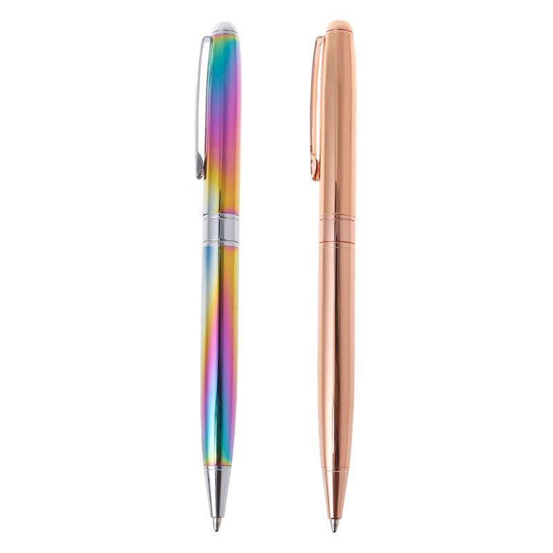 Metal Tükenmez Kalem İş Ofisi Orta Nib Siyah Mürekkep Kalemler Yazma Okulu Kırtasiye H7EC Malzemeleri