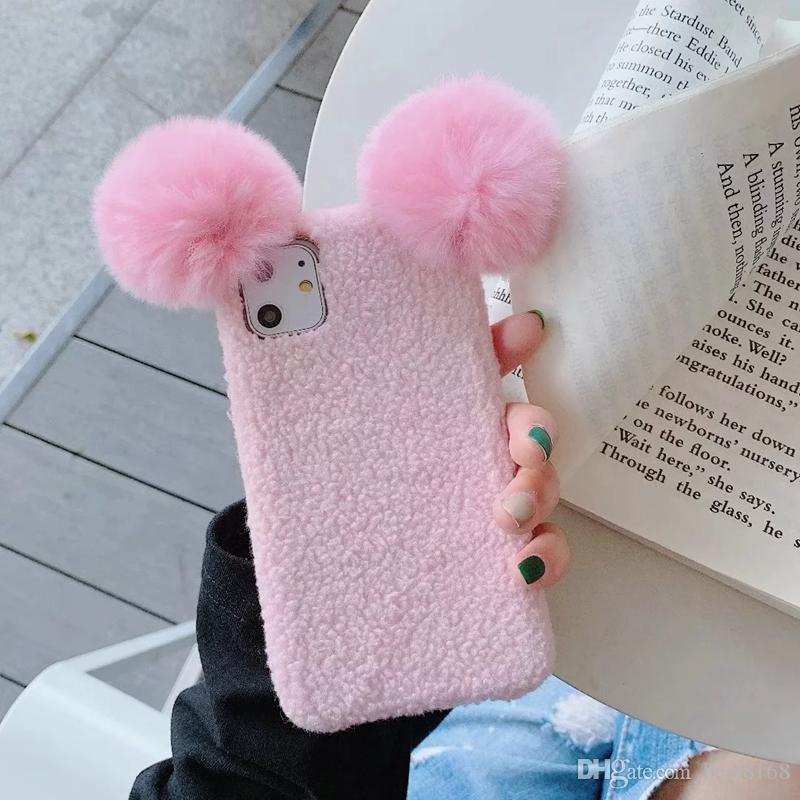 3D Fluffy Sheep Cases For iPhone 11 Pro Max XR XS Max X 7 8 6 Plus Hair Fur Girl Cute Soft TPU Cartoon Back Cell Phone Cover Fashoin Luxury