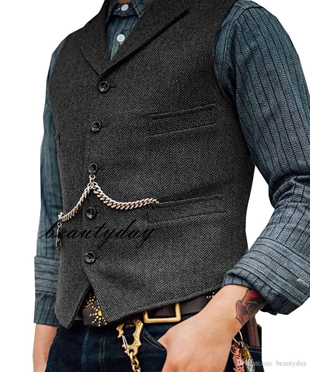 2019 Farm Brown Groom Westen Wolle Herringbone Tweed-Weste Slim Fit Herren-Anzug für den Abschlussball-Land-Hochzeit Weste Kleid Tailor Made Plus Size