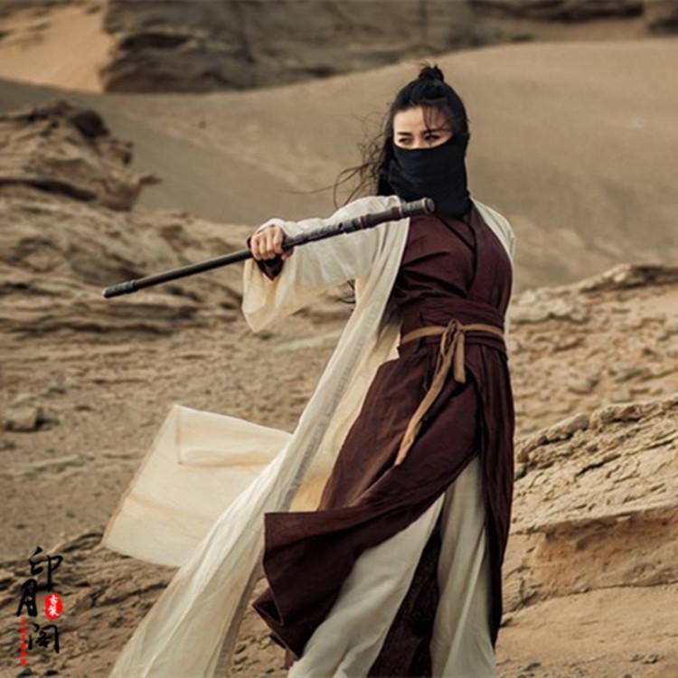 Фильм одежда Тана стиль боевых искусства костюма студия пустыня Сабля женщина Hanfu женщина портрет костюмы Outfit хлопка белье
